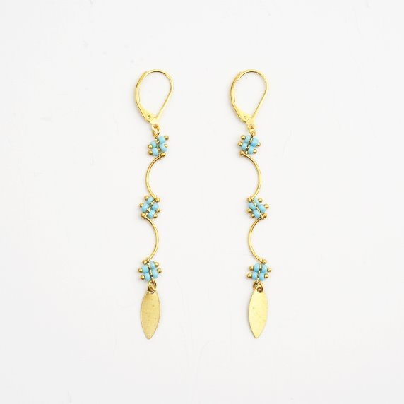 French Blue beads Earrings # 03