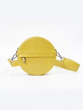 Hvisk Cayman Circle Bag chartreuse yellow 스트랩크로스백