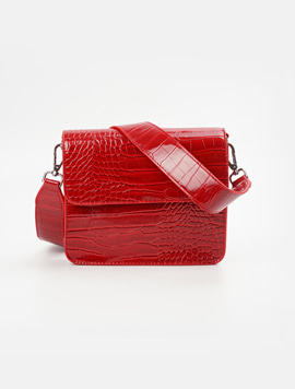 Hvisk Cayman Shiny Strap Bag Wine Red 스트랩크로스백