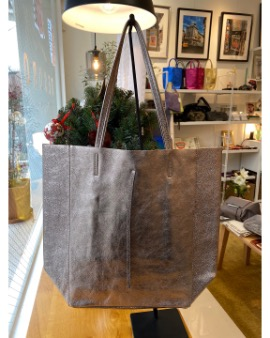 Beige grey shopper bag - Large